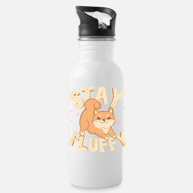 Fluffy Stay Fluffy. Akita Inu. Cute Dog illustration - Water Bottle