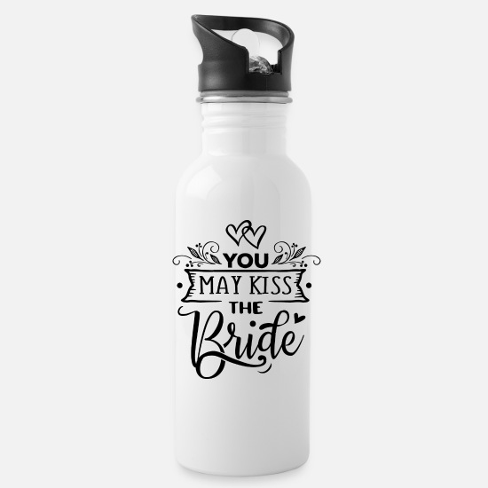 Bride Mugs & Drinkware - You may kiss the Bride - Water Bottle white