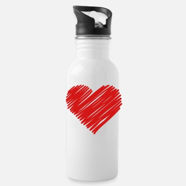 Heart Sketch, Heart, Hearts - Water Bottle