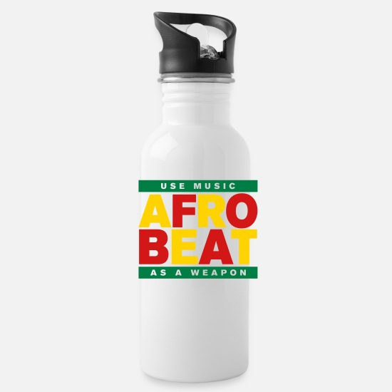 Africa Mugs & Drinkware - AFROBEAT _ USE MUSIC AS A WEAPON - Water Bottle white