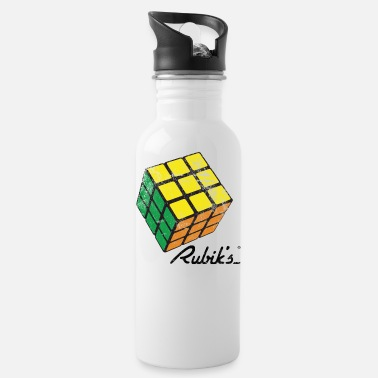 Rubik's Cube Solved Colourful Vintage - Water Bottle