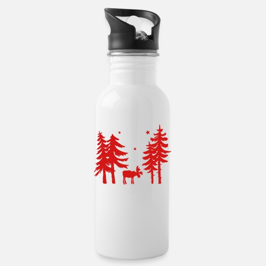 Elk Mugs & Drinkware - Elk in the forest. Wild with firs and stars. - Water Bottle white