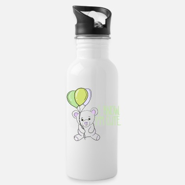 I know I'm cute, baby bear with balloons. - Water Bottle