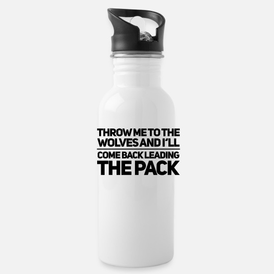 Strong Mugs & Drinkware - Wolves - leading the Pack - Water Bottle white