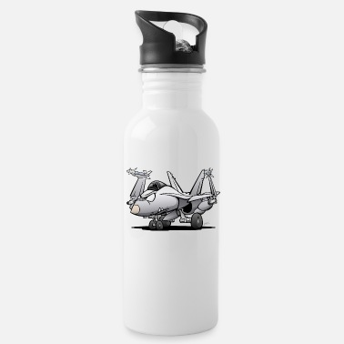 Jet Military Naval Fighter Jet Airplane Cartoon - Water Bottle