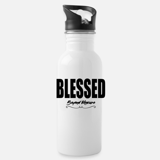 Blessed Mugs & Drinkware - Blessed Beyond Measure - Water Bottle white