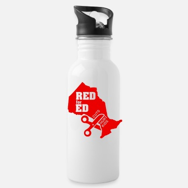 Red For Ed Ontario Cuts Hurt Kids Logo - Water Bottle