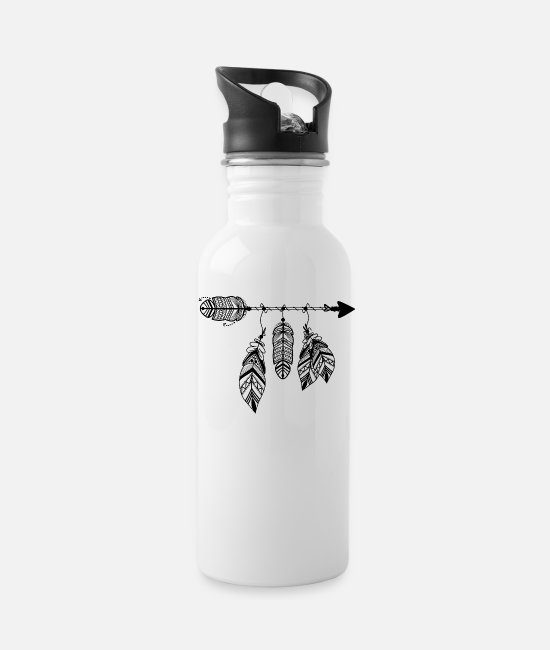 Dream Mugs & Cups - Yoga Dreamcatcher Boho Arrow with Feather - Water Bottle white