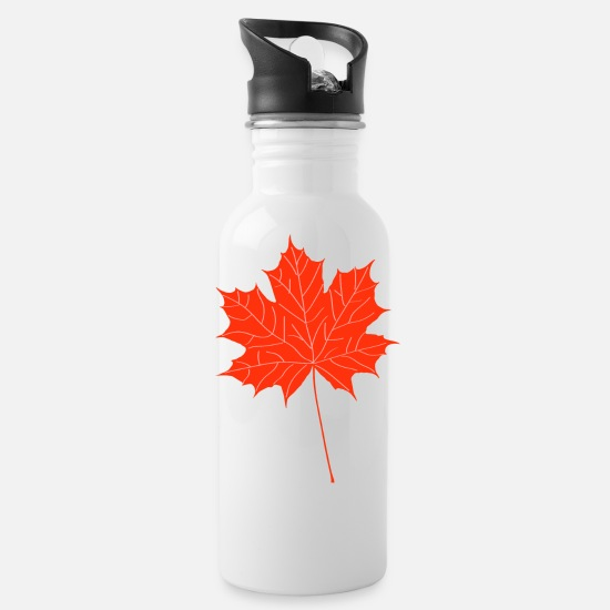 Autumn Mugs & Drinkware - Red maple leaf - Water Bottle white