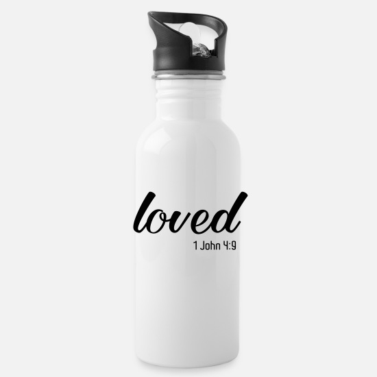 Christianity Mugs & Drinkware - Loved, Bible Verse, Christian Quote, Christian - Water Bottle white