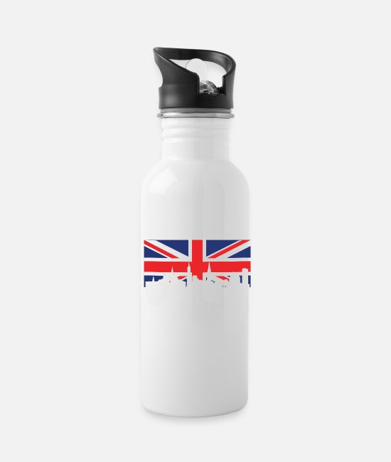 British Mugs & Cups - British Flag Leicester Skyline - Water Bottle white