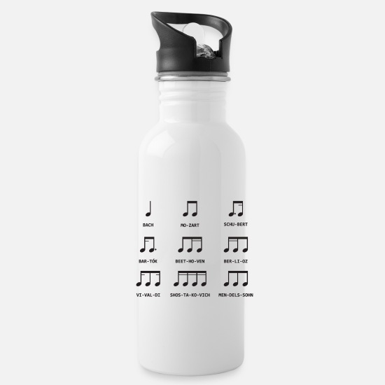 Birthday Mugs & Drinkware - Notes Music - Water Bottle white