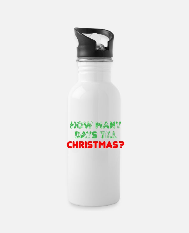 Till Mugs & Cups - How many days till Christmas? - Water Bottle white