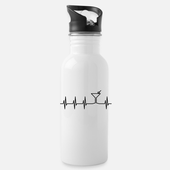 Martini Mugs & Drinkware - Martini Heartbeat - Water Bottle white