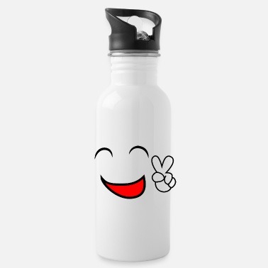 Peace Face Happy Peace Smiley Face - Water Bottle