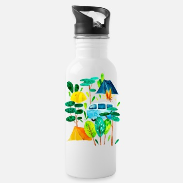 Campground Campground and campfire, time for holidays - Water Bottle