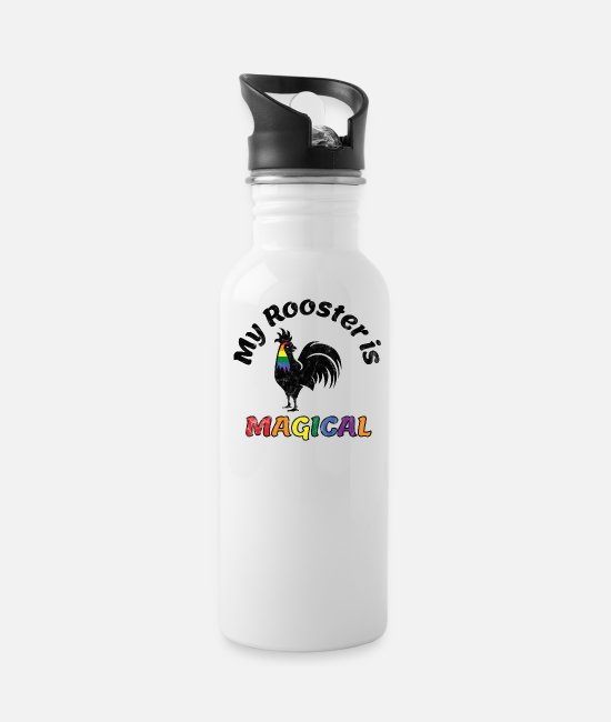 Gay Pride Mugs & Cups - Gay Pride Parade Magical Rooster Funny LGBTQ - Water Bottle white