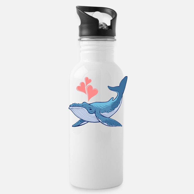 Kids Mugs & Drinkware - Whale Love - Water Bottle white