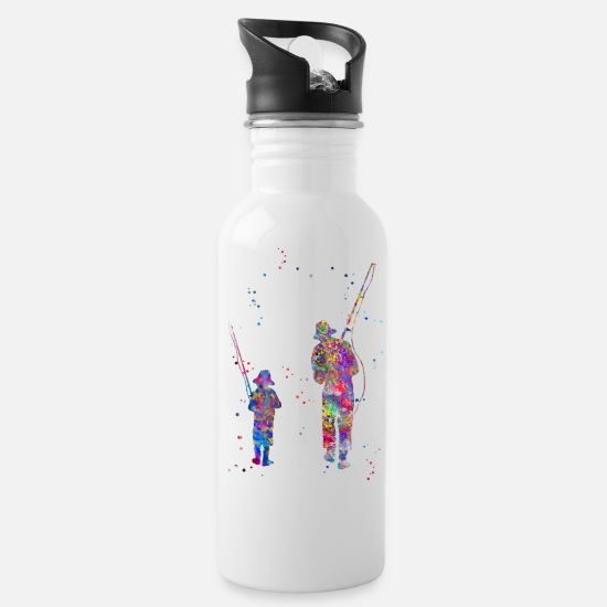 Father And Son Mugs & Drinkware - Father and son fishing - Water Bottle white