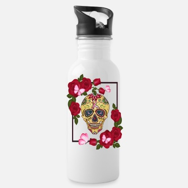 Skull Breast Cancer Awarness Sugar Skull Roses - Water Bottle