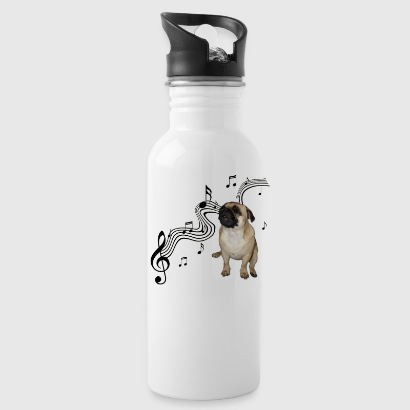Music Pug with sheet music Cute - Water Bottle