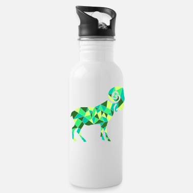 Ramdas geometric green goat Ram gift tee - Water Bottle