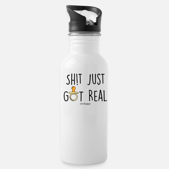 Shit Mugs & Drinkware - FUNNY Pregnancy Baby Announcement design SHIT - Water Bottle white