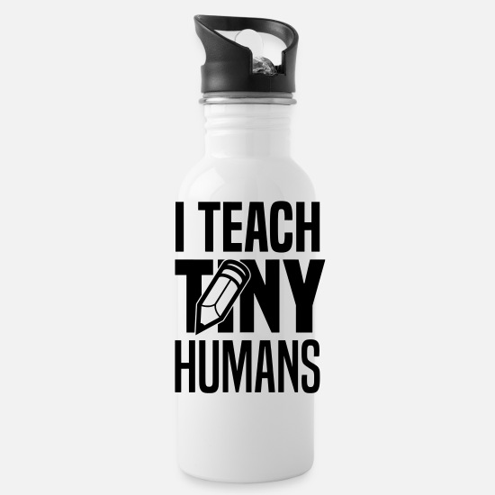 Kindergarten Mugs & Drinkware - I teach tiny humans - Water Bottle white