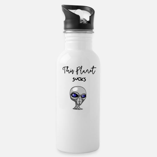 Alien Mugs & Drinkware - This Planet Sucks - Water Bottle white