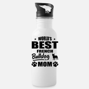 Bulldog World's Best French Bulldog Mom bw - Water Bottle