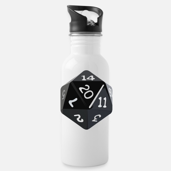 Console Mugs & Drinkware - 172- Nerdy D20 role game - Water Bottle white