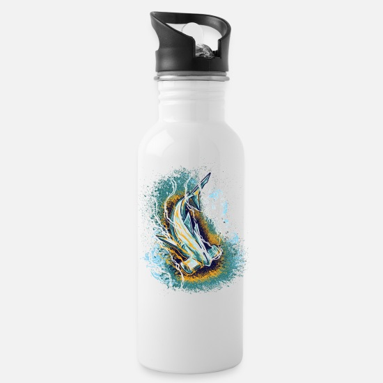 Gift Idea Mugs & Drinkware - Hammerhead Shark, Artwork, Save the Ocean - Water Bottle white