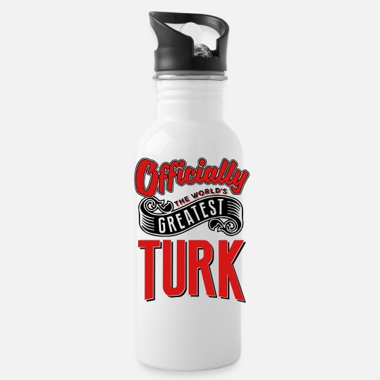World Mugs & Drinkware - officially the Worlds greatest turk - Water Bottle white