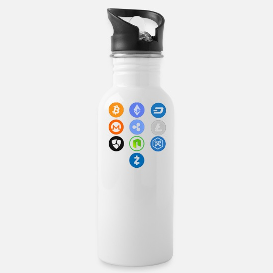 Crypto Mugs & Drinkware - Crypto Coins - Water Bottle white