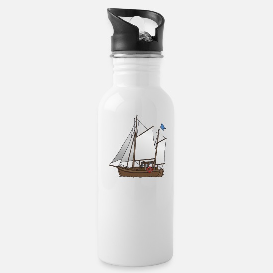 Flag Mugs & Drinkware - Wooden sailing boat (cutter) - Water Bottle white