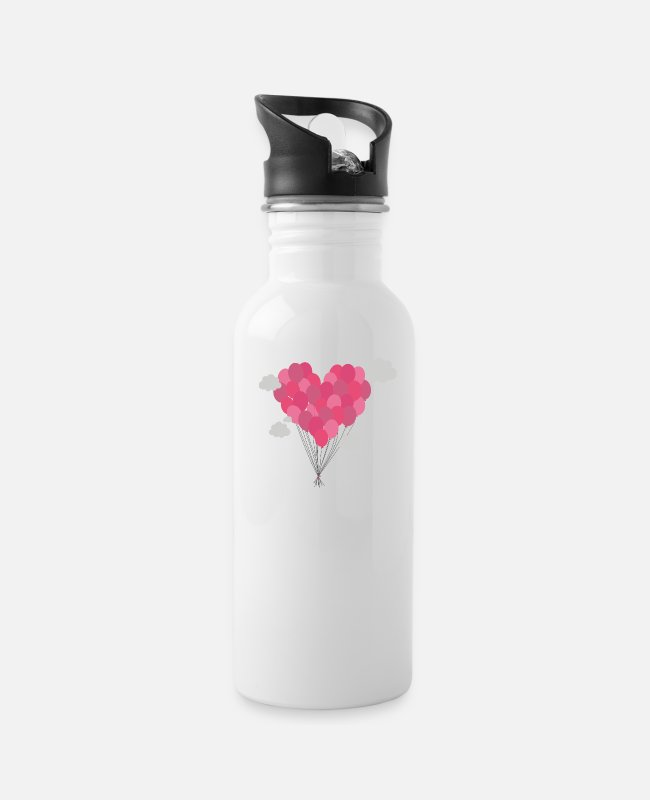 Red Mugs & Cups - Balloons arranged as heart - Water Bottle white
