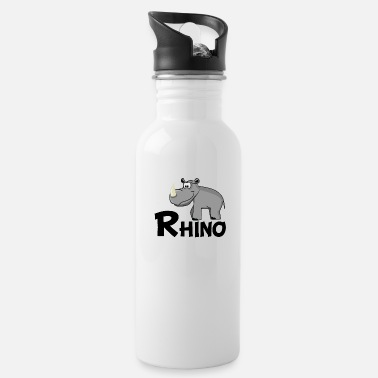 Rhinoceros Cartoon Rhino - Water Bottle