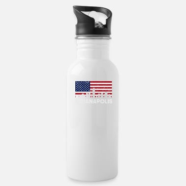 Retro Indianapolis IN American Flag Skyline Distressed - Water Bottle