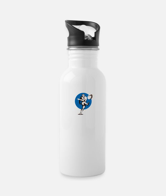 Ball Mugs & Cups - Rugby Kicker Retro - Water Bottle white