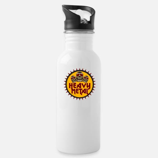 Metal Mugs & Drinkware - Heavy Metal - Water Bottle white