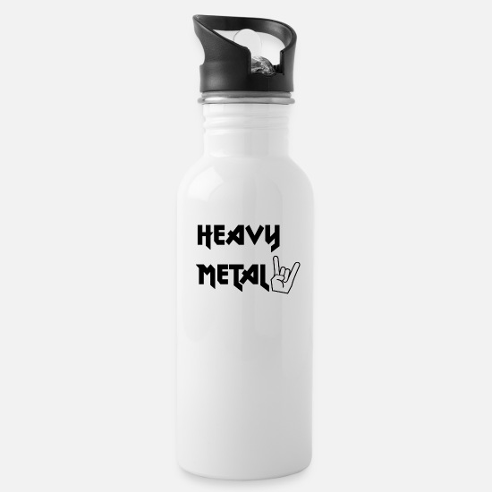 Motorcycle Mugs & Drinkware - Heavy Metal - Water Bottle white