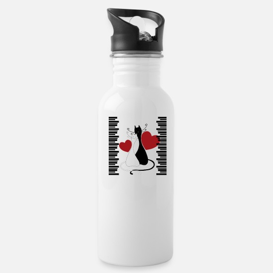 Pet Mugs & Drinkware - Cat with love - Water Bottle white