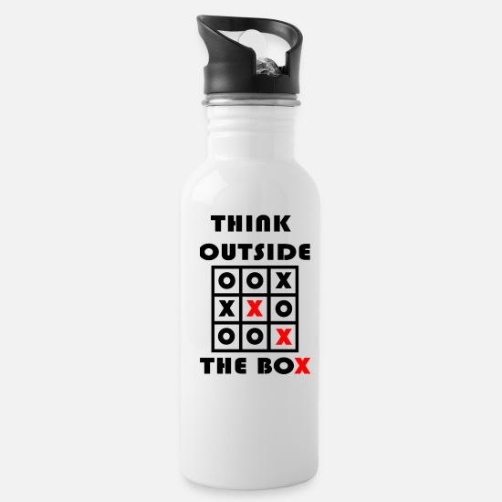 Gift Idea Mugs & Drinkware - Think Outside The Box Tic Tac Toe Geschenk - Water Bottle white