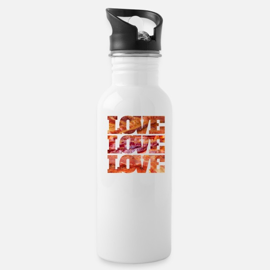 Animal Mugs & Drinkware - BACON LOVE - Water Bottle white