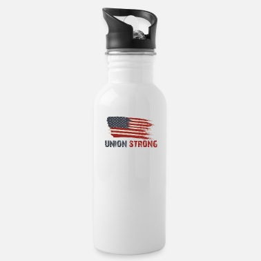 Union Strong Vintage USA Flag Proud Labor Day - Water Bottle