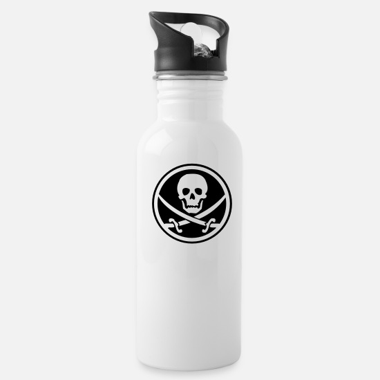 Pirate Mugs & Drinkware - pirate skull emblem - Water Bottle white