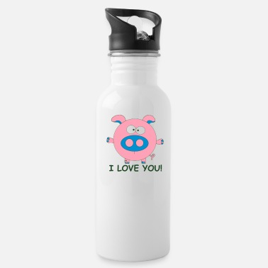 Wins Pig I love you Lover Cupid couple Valentine Kiss - Water Bottle