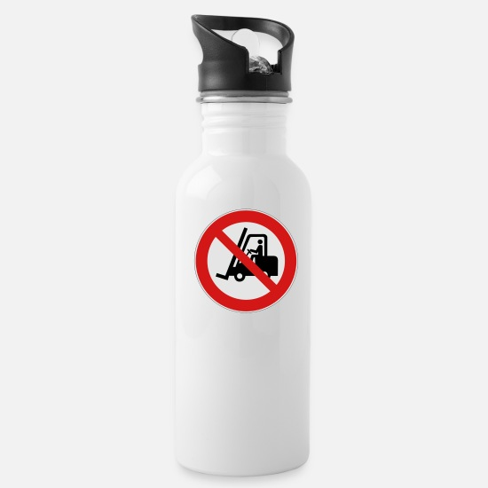 No Mugs & Drinkware - No Forklifts - Water Bottle white