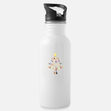 Guitars Christmas Tree Snow Gift Star Note - Water Bottle