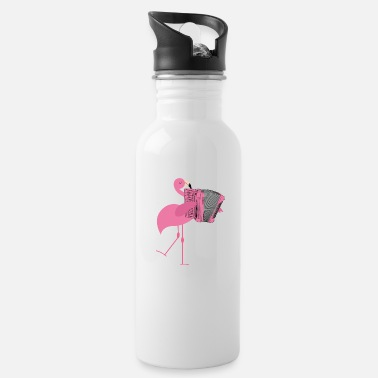 Water Cute Pink Flamingo Playing Accordion Musician Gift - Water Bottle